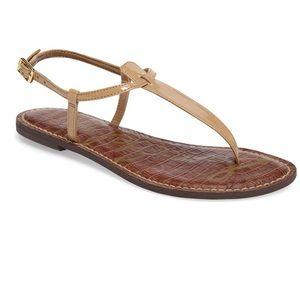 San Edelman Gigi Thong Sandals Almond Patent 8